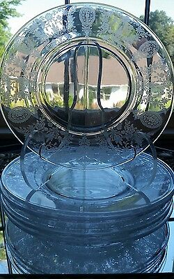 """Antique Tiffin June Night Crystal Glass Salad/Lancheon  Plates Lot of Six (6) 8"""""""