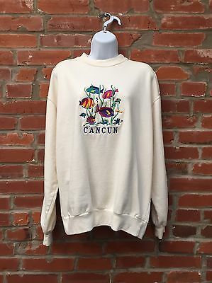 Vintage 90s Cancun Mexico Sweatshirt Off White Embroidered Fish (977)