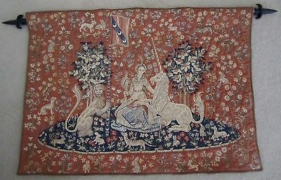 """French Handmade Wall Hang Tapestry with Upper Rod and Lower Weight – 37"""" x 26"""""""