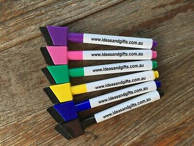 5x Coloured Dry Wipe Whiteboard Marker Pens Medium Point + Magnetic Eraser Lid