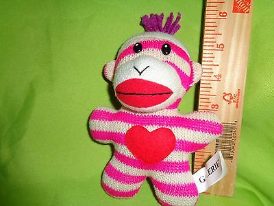 SOCK MONKEY WITH PINK AND WHITE STRIPES PLUSH STUFFED ANIMAL toy doll