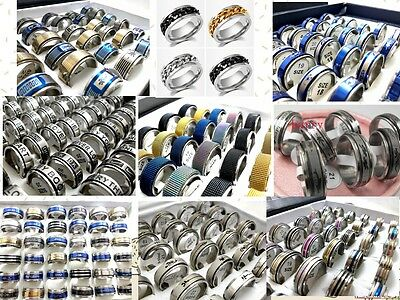 200Pcs  Spin Mix Stainless Steel Rings Men's Women's Jewelry Wholesale Lots