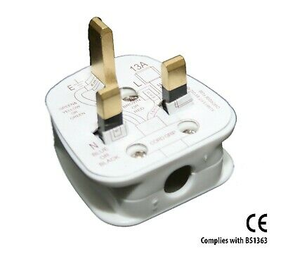2X 13A 13 Amp AC White Mains 3 Pin Standard UK Fused Household Plug CE Certified