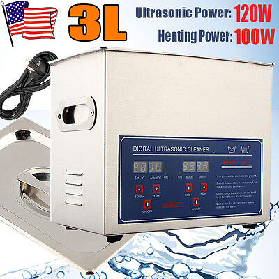 3L Stainless Steel Digital Industry Heated Ultrasonic Cleaner Heater w/Timer