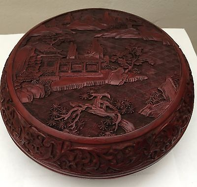 Antique Chinese Hand-Carved  Round Red Cinnabar Lacquer Box, Qing
