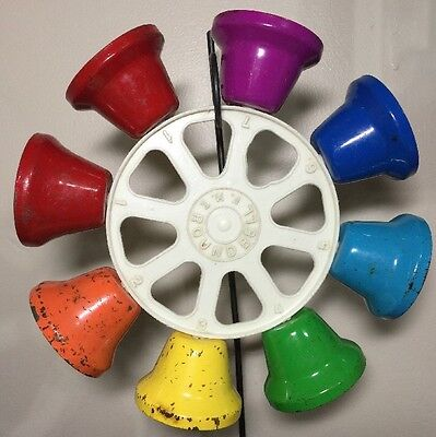 F.M.T. Round Bell • Vintage Colorful Rainbow Bell Wheel Musical Toy Instrument