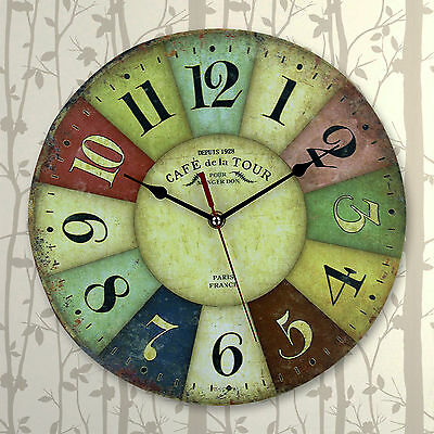 Shabby Large Retro Paris Reloj de pared gigante multicolor de estilo vintage