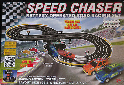 RC Vtg Challenger Road Racing Set 7' Race Track + 2 Slot Cars! Battery Operated