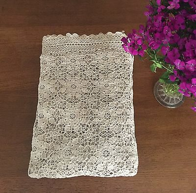 Lrg Vintage Beige Crochet / Lace Table Cloth / Country Style Bed Throw