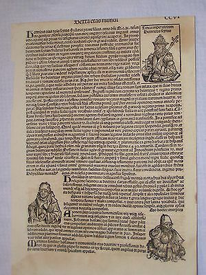 1493 Nuremberg Chronicle, Hartman Schedels, Single Leaf Incunabula CCVI Crusades