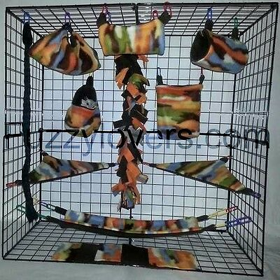 Orange Camo * 15 PC Sugar Glider Cage set * Rat * double layer Fleece