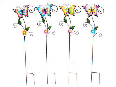 12 garden décor butterfly garden stakes with leaves 4 asst 50x1x23.5cm bulk who