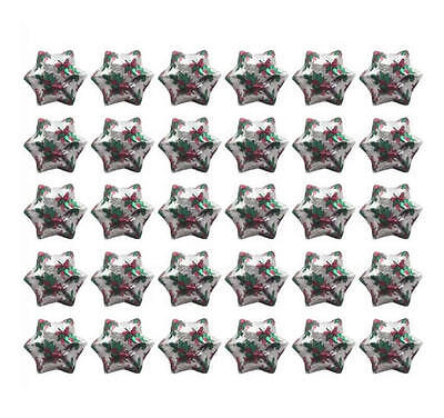 400 Milk Chocolate Stars Silver Holly Gold Red Green - Christmas Gifts Parties
