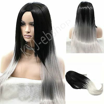 Long Straight Full Wig Heat Resistant Hair Black Ombre Grey Party Wigs Women's
