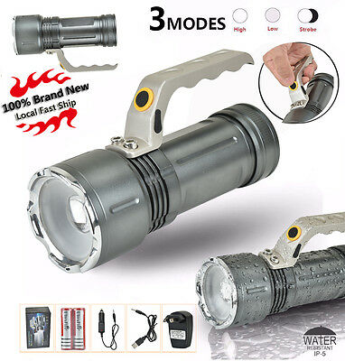 6000 Lm Handheld CREE XM-L T6 USB LED Zoomable Flashlight Torch 2x18650+Charger