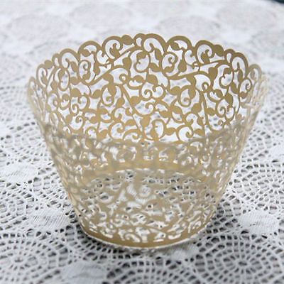 12x Cupcake Lace Wrapper Filigree Vine Muffin Wedding Decorated Supplies Ivory #