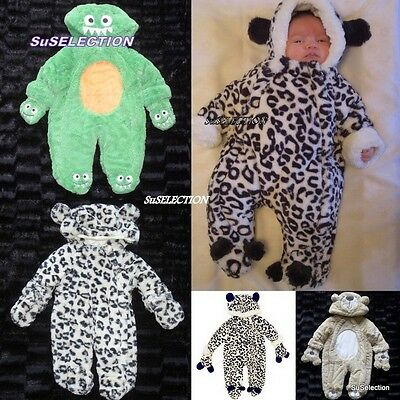 Baby Boy Girl Mock Fur Animal Print Snowsuit-Newborn/2 Years- Bear/monster- New