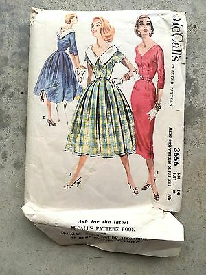 vintage McCall's 3656 1950s Dress Pattern Used SLim & Full SKirt Rockabilly
