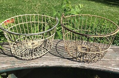 ONE Vintage White Wire Egg Gathering w Handle Antique Farm Fall Harvest Basket