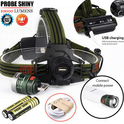 10000LM XM-L T6 LED Headlamp Headlight Head Light USB Rechargeable Lamp+ Battery