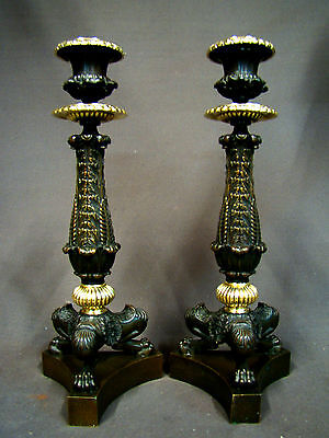 Unique Majestic Antique French Ormolu Bronze Empire Candlesticks 1800's