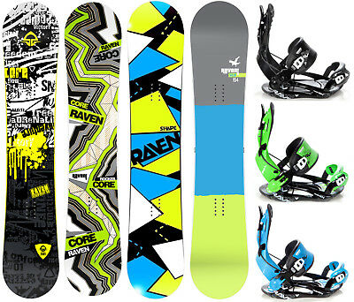 Snowboard Raven Core, Core Carbon, Shape oder Solid + Bindung Raven Fastec FT270