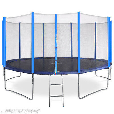 15ft Trampoline with Ladder Safety Net Enclosure Padding Rain Cover Kids Adults