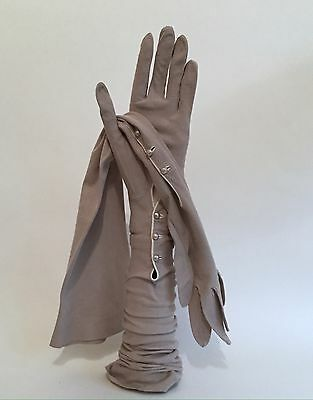 Vintage Stone Coloured Kid Skin Mousquetaire 22 Inch 3 Button Opera Gloves