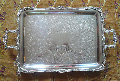 Vtg Wm Rogers Huge Butlers Serving Tray Handles Silverplate on Brass 28 x 16.5