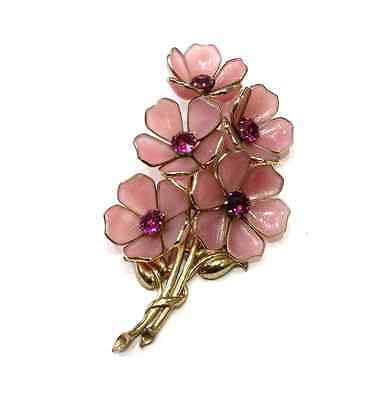 Vintage Dress Fur Clip Pin Pink Gripoix Poured Glass Cherry Blossom Flowers 1930