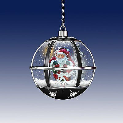 Black And Silver 30cm Hanging Musical Snowglobe Lamp With LED Lights (IDI9520)