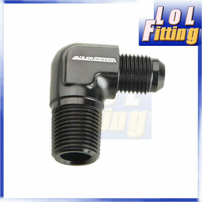 """AN6 6AN AN -6 Male to 3/8"""" NPT 90 Degree Aluminum Fuel Adapter Fittings Black"""