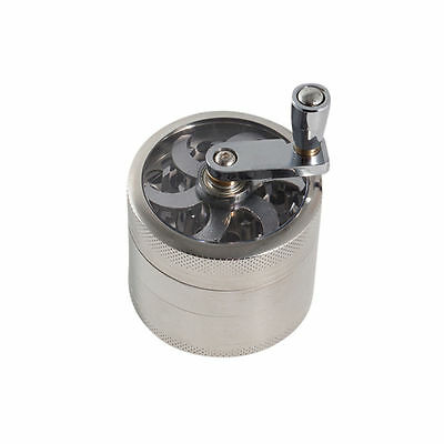 Silver Herb Grinder w/ Handle Spice Crusher Tobacco Hand Muller 2 inch 4 Piece