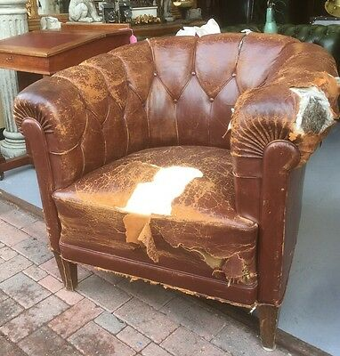 Fine Brown Leather Deep Buttoned Back Club Chair. Open To Offers.