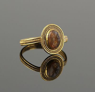 Stunning Ancient Roman Gold Intaglio Ring  - Circa 2Nd C Ad