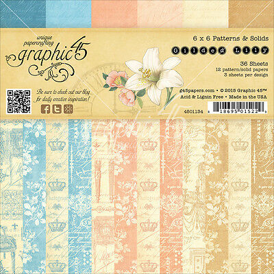 """Graphic 45 Double-Sided Paper Pad 6""""X6"""" 36/Pkg-Gilded Lily, 12 Designs/3 Each"""