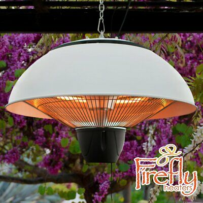 Electric Patio Garden Heater 1.5KW Ceiling Hanging White Halogen 41cm IP34