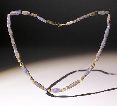 Beautiful Ancient Lapis Lazuli & Gold Bead Necklace - Circa 2Nd Century Ad
