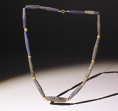 Beautiful Ancient Lapis Lazuli & Gold Bead Necklace - Circa 2Nd Century Ad • CAD $471.88