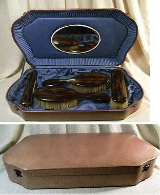 Vintage Faux Tortoiseshell 4 Brush Set In A Mirrored Blue Lined Presentation Box