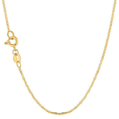 10K Yellow Gold 1.2MM Solid Flat Mariner Link Chain Anklet 10""