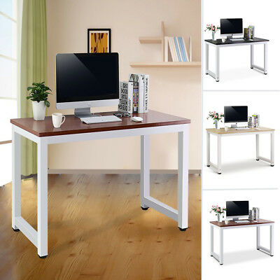 Wooden Computer Desk Home Office Writing Study Table Workstation Metal Legs UK