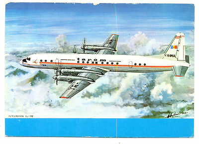 1982 Tarom Romanian Air Transport Airlines ILYUSHIN IL-18  Postcard