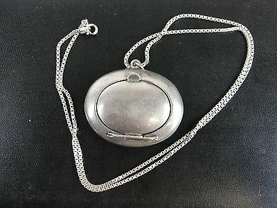 "Vintage Sterling Silver Compact Powder Box Necklace With 22"" Sterling Chain"