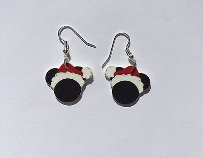Mickey Mouse Earrings Christmas Ears Santa Hat Charms
