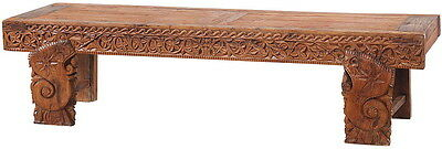 """93"""" L Fando bench solid wood hand carved medium brown spectacular quality"""