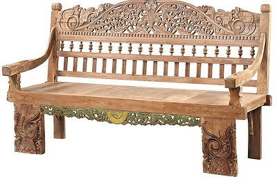 "79"" L Trump bench hand carved distressed paint finish unique luxurious"
