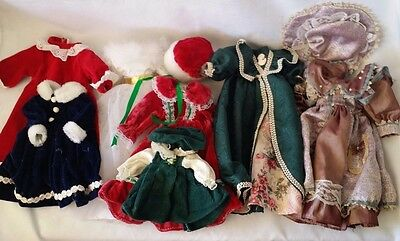 "Lot of 9 piece Porcelain Doll Clothes For Mostly 16"" Dolls Dresses and Some Hats"