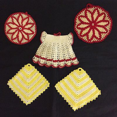 Vintage Crocheted Pot Holders Red Yellow White Nice