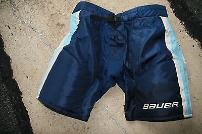 PITTSBURGH PENGUINS Bauer Blue XL Game Used Worn Pro Hockey Pant Bottoms